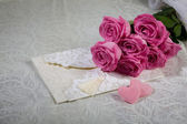 Flowers and letter — Stock Photo