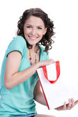 Young Emotional Woman With Paper Bag — Stock Photo
