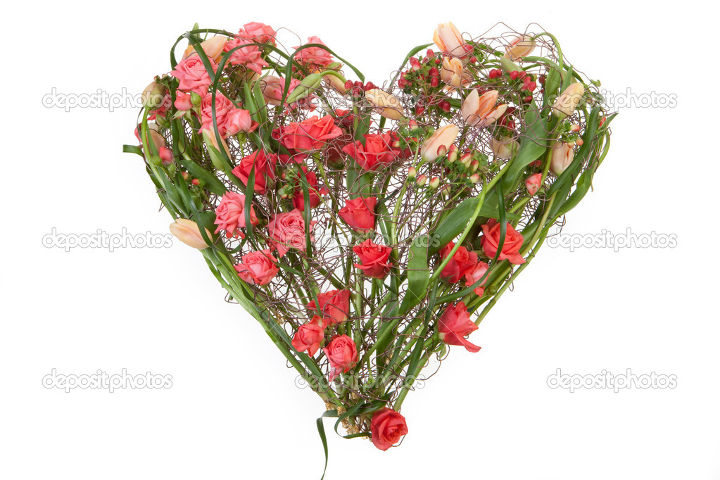 Heart shaped composition made of wire and flowers on isolated background — Stock Photo #2975207