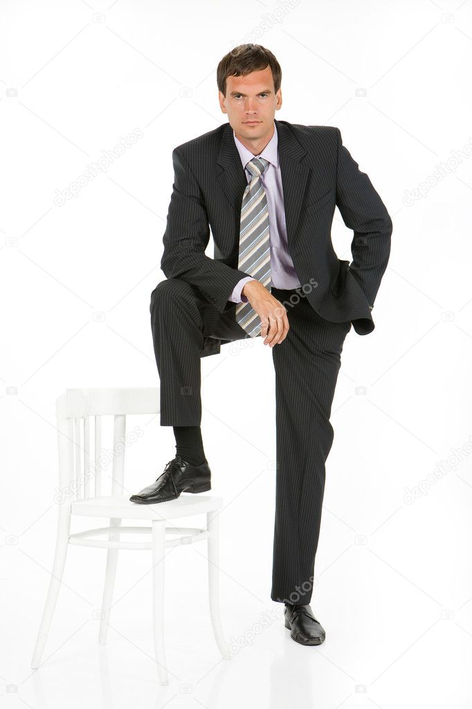Young man in business suit on isolated background — Stock Photo #2990372