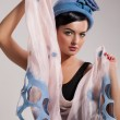 Foto Stock: Young Beautiful Woman in Fashionable Clothing