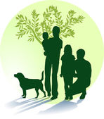 Mutter, Vater, Kinder und Hund — Stock Vector