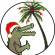 Alligator x-mas - Stock Vector