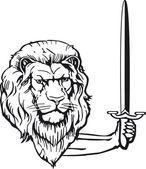 Löwe mit Schwert — Stock Vector