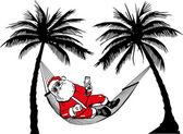 Weihnachtsmann in Hängematte — Stock Vector