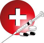 Kreuz tabletten spritze — Stock Vector