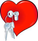 Herz schlüssel — Stock Vector