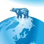 Polar bear north pole — Stock Vector