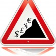 Warning triangle currency — Stock Vector