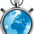 Stopwatch earth - Stock Vector