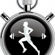 Stock Vector: Runner stop watch