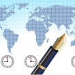 Universal time, global — Vector de stock