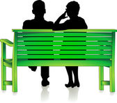 Seniors at park bench — Stock Vector