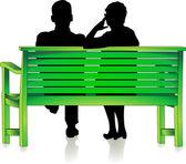 Seniors at park bench — Stock Vector