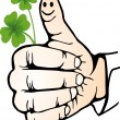 Hand, shamrock - Stock Vector