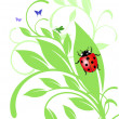 Stock Vector: Ladybird on trailing plant
