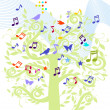 Stock Vector: Sheet music tree