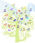Sheet music tree — Stock Vector