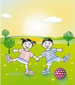 健康生活和年轻的儿童 — 图库矢量图片