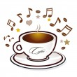 Stock Vector: Coffee and sweet music