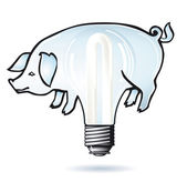 Pig electric bulb — Stock Vector