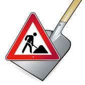 Shovel road works — Stock Vector