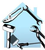 Casa e a ferramenta ' mão — Vetor de Stock