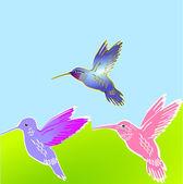 3 oiseaux de fleur — Vecteur