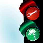 Traffic lights to holiday — Stock Vector