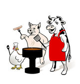 Animal Farm to have a barbecue — Stock Vector