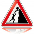 Stock Vector: Warning falling rocks