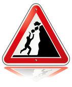 Warning falling rocks — Stock Vector