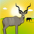 Stock Vector: A Male Kudu