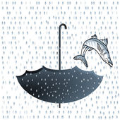 Big fish rainfall — Stock Vector