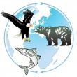 Animal world natural heritage — Vector de stock
