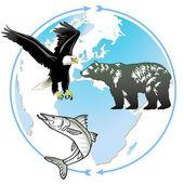 Animal world natural heritage — Stock Vector
