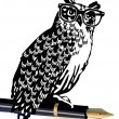 Owl, classical writer — Stock Vector #3397208