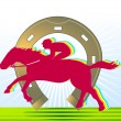 Horse-racing and horseshoe - Stock Vector