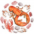 Stock Vector: Seafood