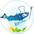 Fish and seafood restaurant - Stock Vector