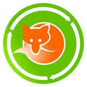 Fox on green sign — Stock Vector