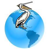 Pelican pollution of the environment — Stock Vector