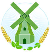 Green windmill — Stock Vector