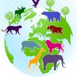 Мире зоопарк — Cтоковый вектор