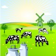 Stock Vector: Dairy farming