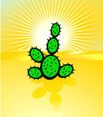 Desertification and cactus — Stock Vector