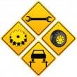 Mechanics repairing car sign - Stock Vector