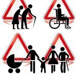 samling av handikapp tecken — Stockvektor