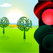 Stock Vector: Nature conservation and red traffic light