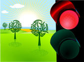 Nature conservation and red traffic light — Stock Vector